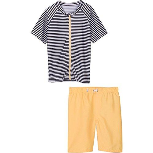 Hang 10 Navy Strip- UV Protective Rash Guard Swimsuit Set by SwimZip,3T-Navy Stripe
