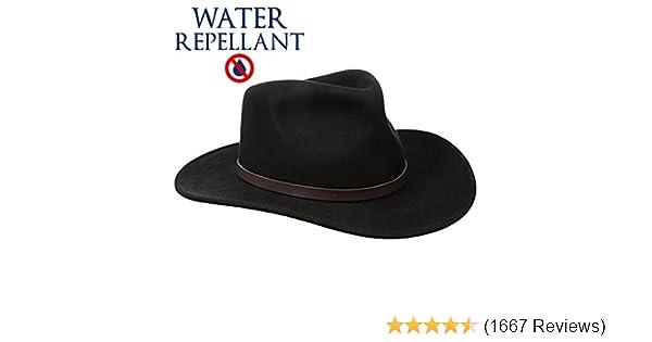 9c4471788ab SCALA Classico Men s Crushable Felt Outback Hat Wide Brim 100% Wool Felt UV  Protection at Amazon Men s Clothing store  Cowboy Hats