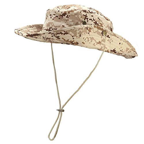 Faleto Bucket Hat Boonie Cowboy Hat Wide Brim Caps Fishing Hat With Adjustable Strap  Camel Digital