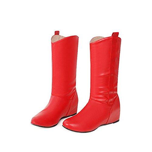 AllhqFashion Mujeres Caña Media Sin cordones Material Suave Mini Tacón Puntera Redonda Botas Rojo