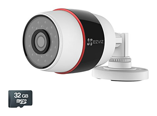 EZVIZ Husky HD 1080p Outdoor Wi-Fi Video Security Camera, Works with Alexa, 32GB MicroSD (Built in) WiFi Connectivity - 2.4Ghz Only