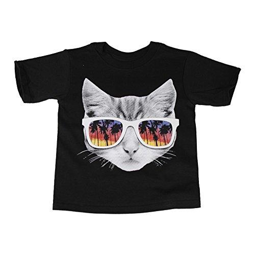 ue Little Girls Black Cat Face Sunglasses Graphic Print Short Sleeve T-Shirt 6/6X (Park Avenue/s Sunglasses)
