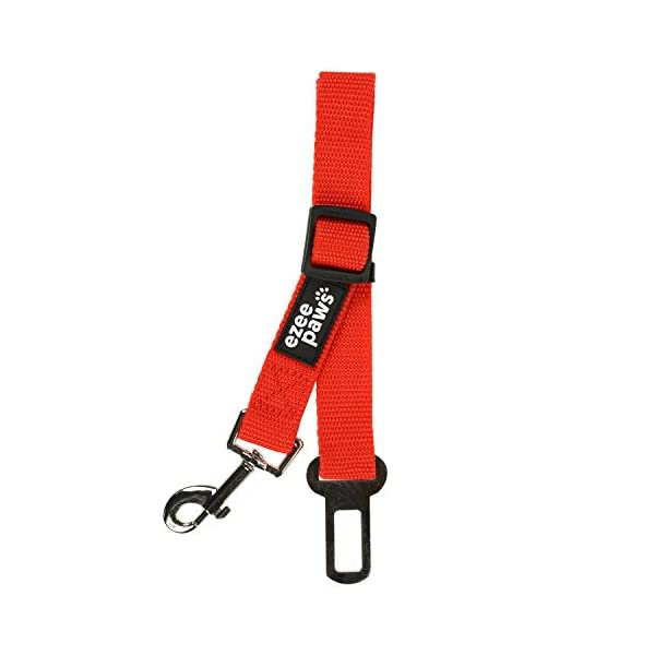 Ezee Paws Pet Dog Seat Belt for Car Lead Clip Safety Restraint Harness Adjustable Length Red