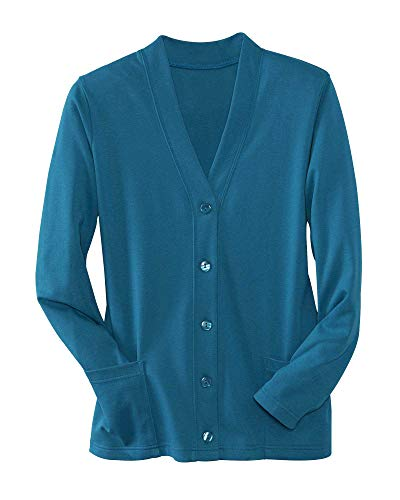 UltraSofts Button-Front Knit Cardigan, Moroccan Blue, Large