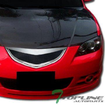 Topline Autopart Chrome JDM Sport Aluminum Mesh Front Bumper Grill Grille Cover Conversion 04-06 Mazda 3 Mazda3 Sedan 4D 4Dr 4 Door Sedan