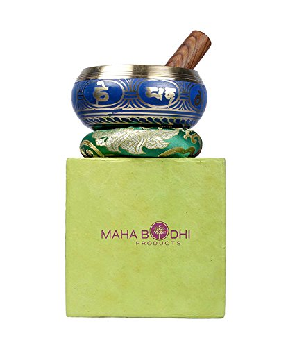 Lokta Box - Tibetan Singing Bowl Set ~ Cool Blue Design ~ Maha Bodhi 5 Inch Wide Authentic Meditation Gong for Relaxation and Chakra Healing ~ Completely Hand Carved ~ Perfect Gift