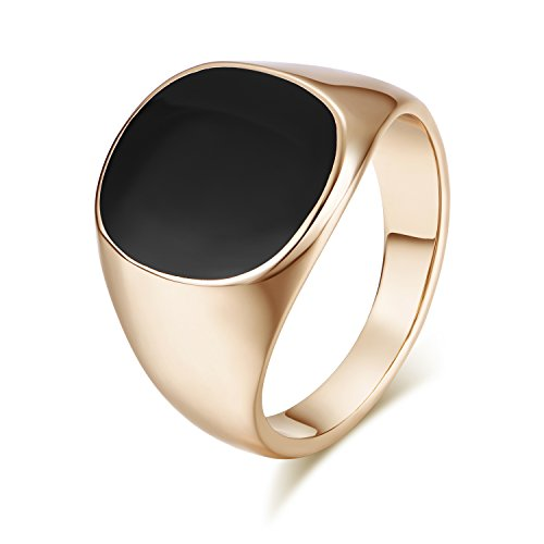Yoursfs Black Ring Men Stainless Steel Band Signet Onyx Oval Enamel Ring (Signet Ring, (Gold Oval Signet Ring)