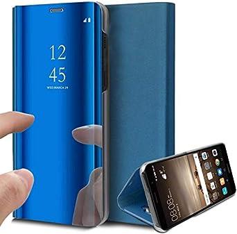 Caler Case Compatible con Samsung Galaxy S7 Funda de Cuero PU Espejo Brillante Clear View Modelo Fecha Duro Cover Flip Tapa Libro Soporte Plegable Ventana de Espejo Transparente Carcasa(Azul): Amazon.es: Ropa y