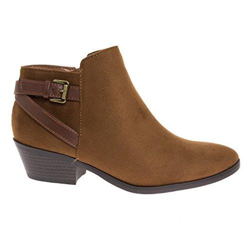 SODA Choya Cognac Almond Toe Ankle Booties w Belted Buckle Detail & Block Heel ()