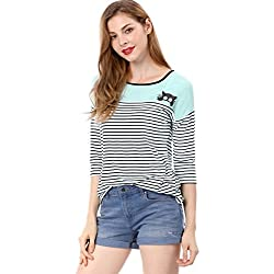 Allegra K Women's Color Block Paneled Piped Cat Prints Striped Tee S Blue
