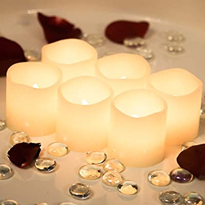 """Flameless Candles * Set of 6 Real Wax with 6 Extra Batteries Included FREE! Unscented and Ivory in Color * 2"""" By 2"""" Votive Style LED Flickering Lights * Great Gifts for any Occasion * Home Decor * Weddings * Romantic Settings"""