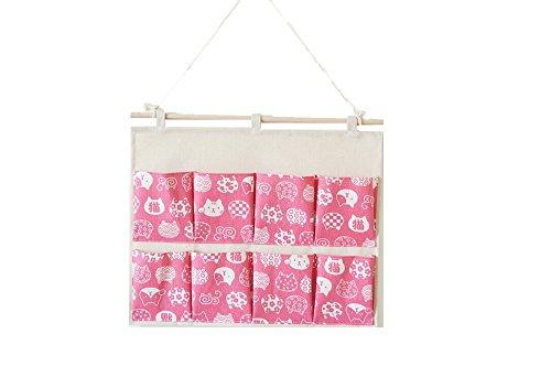 KINGREE Over the Door Magazine Storage Pockets, Wall Door Closet Hanging Storage bag organizer, (8 Pockets-Cat-Pink) by KINGREE