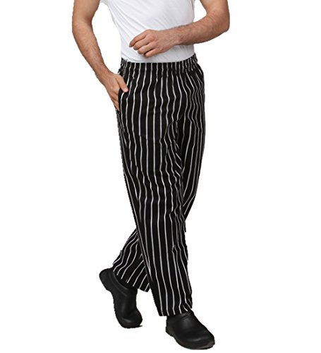 JXH Chef Uniforms men's black and white striped cotton chef pants with elastic waist