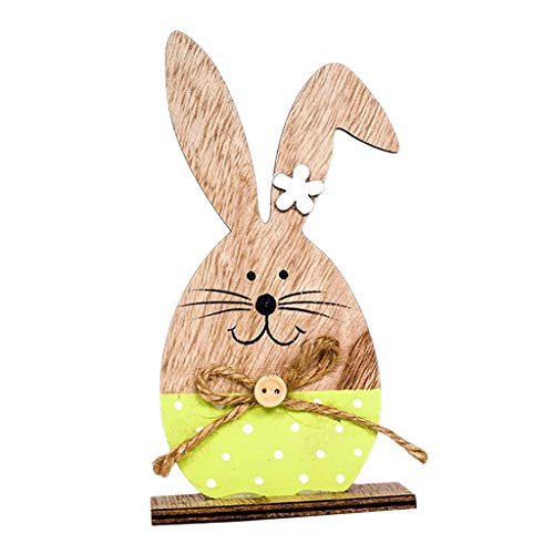 - Prettyia Happy Easter Wooden Painting Bunny Easter Holiday Table Decoration - Green