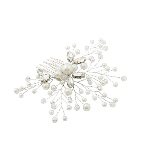 Venusvi Silvery Wedding Hair Combs With Bead And Rhinestones Bridal Headpiece For Bridesmaidssilversilvery