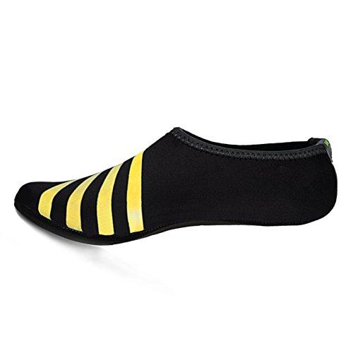WONZOM FASHION Frauen Barfuß Wasserhaut Schuhe Quick-Dry Aqua Socken für Beach Pool Schwimmen Dive Surf Yoga Gelber Streifen