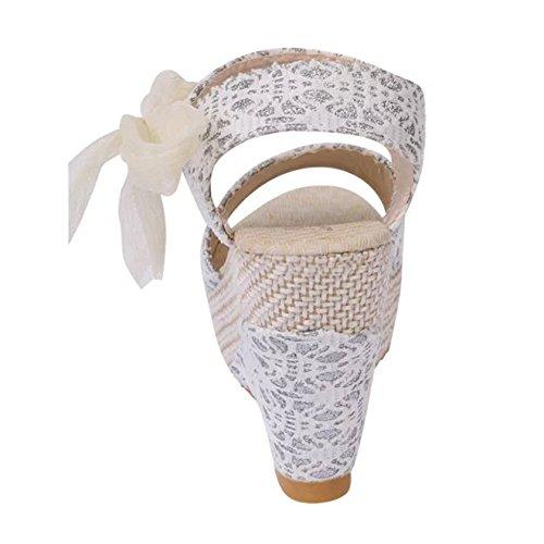 Elegante Crosta Testa Tacco Stringate Infradito Dei Sandali Minetom Col Pesci Focaccina Scarpe Donna Estate Bianco Alto Spessa OwxRqRUEI