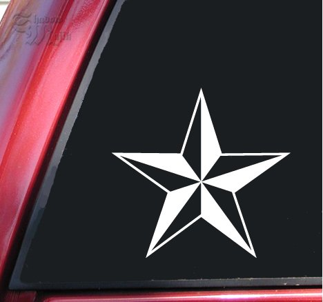 White Nautical Star (Nautical Star Vinyl Decal Sticker (6