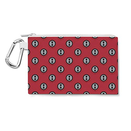 Black Widow Logo Avengers Superhero Inspired Canvas Zip Pouch - 3XL Canvas Pouch 14x11 inch - Multi Purpose Pencil Case Bag]()