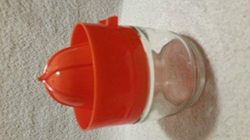 (Vintage Gemco Plastic Orange Lid with Glass Jar Juicer)