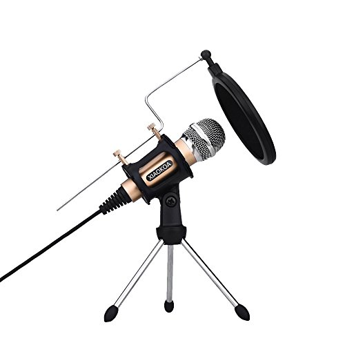 Professional Condenser Microphone, Plug &Play Home Studio microphones for Iphone Android Recording, PC, Computer, Podcasting, Mini Desktop MIC Stand dual-layer acoustic filter (M3-gold)