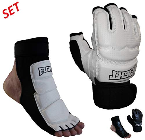 Sparring Set MMA Gloves Foot Protector Taekwondo Karate Training Gloves Foot Gear (XS-Small)