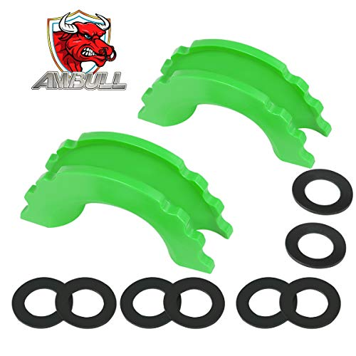 AMBULL Green D-Ring Shackle Isolator Kit, 2 Rubber Shackle Isolators and 8 Washers, Fits 3/4 Inch Shackles, Protect Your Bumper and Reduce Rattling