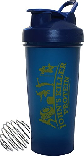 JOHN'S KILLER PROTEIN - FULL COLOR BLENDERBOTTLE WITH LOGO. 28 oz. This custom BlenderBottle makes a statement that you take your diet and workouts seriously. (Navy Blue With Gold Logo)
