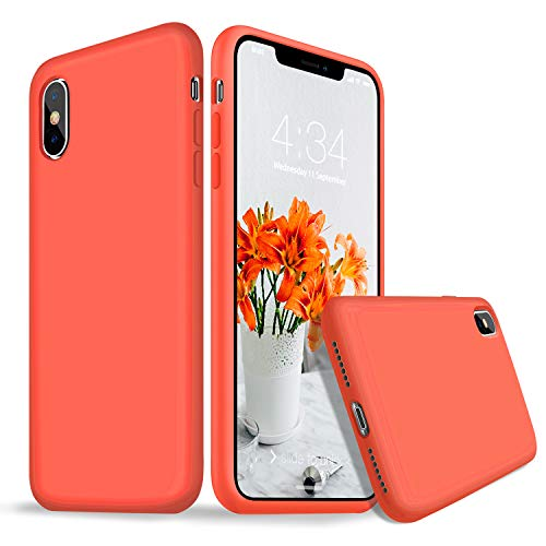 iPhone X Case, iPhone X Silicone Case, Xperg Slim Liquid Silicone Gel Rubber Shockproof Full Body Case Soft Microfiber Cloth Lining Cushion Compatible with iPhone X/XS 5.8 inch (Nectarine)