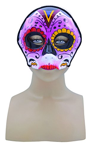 Bristol Novelty EM747 Sugar Skull Style Mask, Womens, Multi-Colour, One -