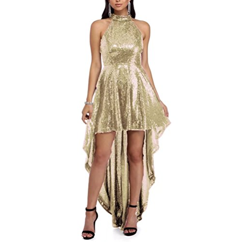 Women's Dresses Bridesmaid AiniDress Halter Champagne Dresses High Sequin Prom Elegant Low 4xnSq4r