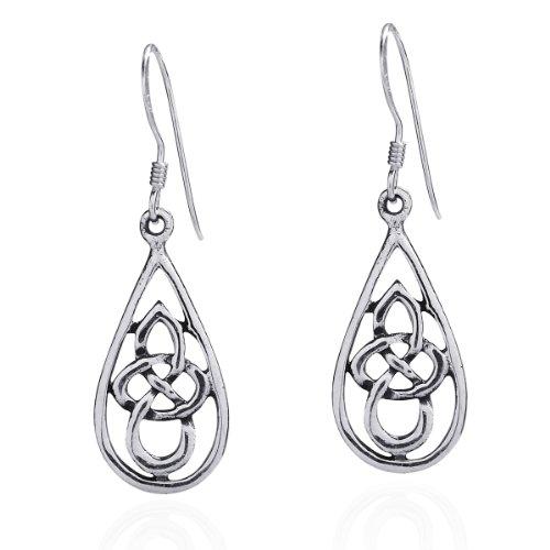 Celtic Knot Tear Drop .925 Sterling Silver Dangle Earrings (Cetic Knot)