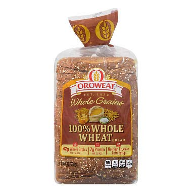 100% Whole Wheat Bread 24 oz. (pack of 3) A1
