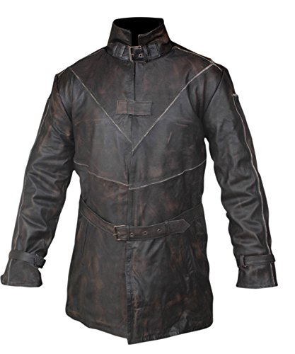F&H Boy's Watch Dogs Aiden Pearce Genuine Leather Trench Coat M Brown (Original Bane Costume)