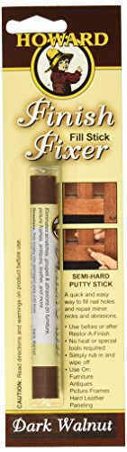 Howard FS6001 Finish Fixer Semi-Hard Putty Stick, Dark Walnut