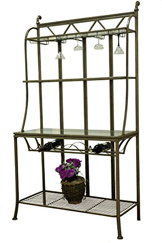 Bronze Dining Room Bakers Rack (Milan Darlene Hand Painted Bronze Bakers Rack with Tempered Glass Shelves, Large)