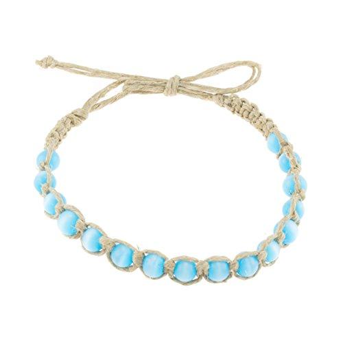 BlueRica Hemp Anklet Bracelet with Turquoise Blue Cat's Eye Beads