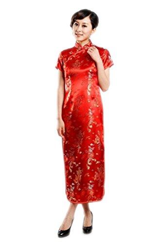 JTC Femme dragon et Phénix Robe de Soirée Longue Cheongsam Qipao Brocade-rouge