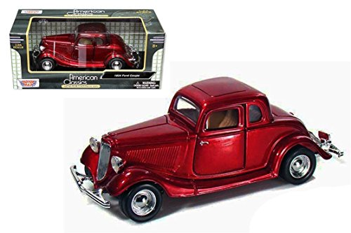 - New 1:24 W/B AMERICAN CLASSICS COLLECTION - RED 1934 FORD COUPE Diecast Model Car By MOTOR MAX