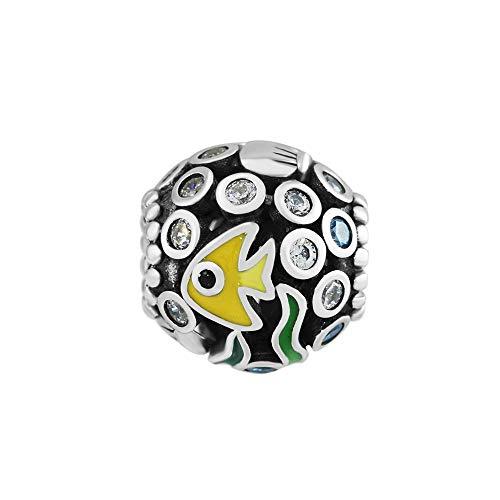 - CKK Ocean Fish Charm Fit Pandora Bracelet 925 Sterling Silver Mixed Enamel Crystal Bead Charms for Bracelets DIY Jewelry Making