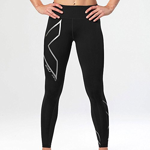 2XU Hyoptik Mid Rise Womens Long Compression Tights - Black-S