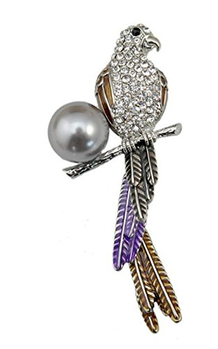 OUBEY Jewelry Exotic Fantasy Color Parrot Brooch Diamond Accented Little Bird Pearl ()
