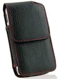 Bloutina Black Leather Case Pouch Red Stitches For HTC Touch Pro 2 CDMA (Touch Pro2 CDMA)