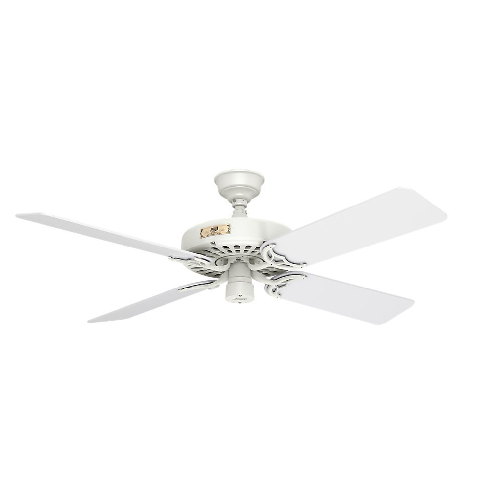 Hunter Indoor Outdoor Ceiling Fan, with pull chain control – Original 52 inch, White, 23845
