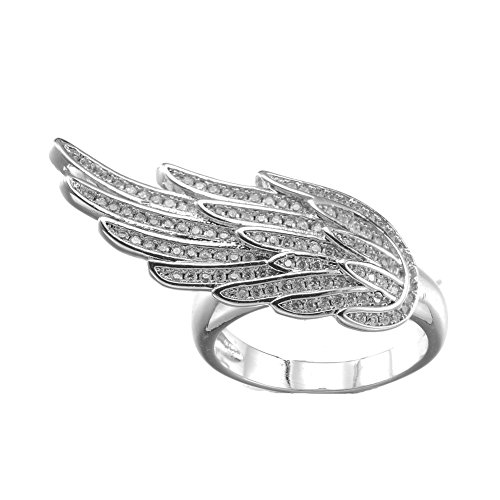 KIVN Fashion Jewelry Angel Wing Feather Pave CZ Cubic Zirconia Rings for Women (White, ()