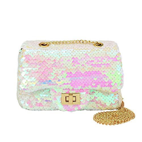 CMK Trendy Kids Sequin Toddler Kids Purse for Girls Quilted Little Girl Purses Christmas Gifts(white pink)