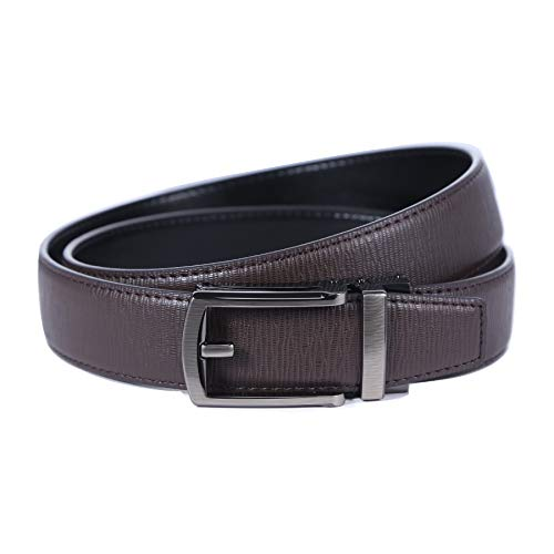 Men's Slide Buckle belt for men dress with Automatic Ratchet and Genuine Leather and Micro Adjustable and Trim to Fit, SOLOFOX (Leather Casual Slides)