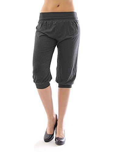 Harem Harems Aladin Pantalon POMPE CAPRI 3/4 haute couleur Leggings Baggy été - gris foncé, M