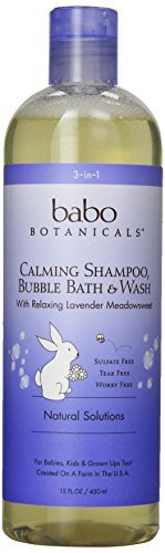 Babo Botanicals Lavender Meadowsweet 3 in 1 Bubble Bath Shampoo Wash, 15 Ounce (Pack of 3)