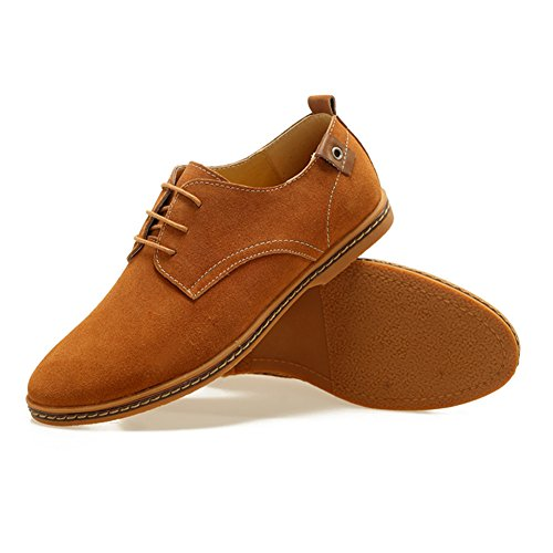 Serene Mens Casual Classic Suede Leather Lace Up Soft Breathable Fashion Oxfords Tan 5X3fyuM9X